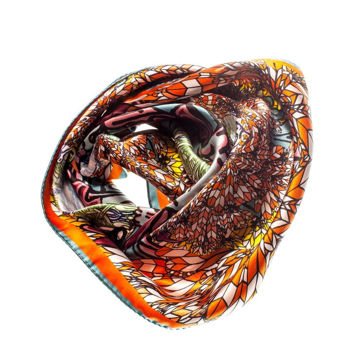 COMING SOONFancy Silk Scarf  INSPIRATIONExplosion of orange, yellows, reds, pinks, blues. Every colour combined to make this the most epic print. Layered upon one another the more you look at this print the more you get entranced. This scarf certainly has an opinion. You will love feeling the soft silk fabric against your skin. Screams luxury.  INFORMATIONFabric: Silk Satin fabricFinish: Rolled edgingSize: 70cmx70xmCUSTOMER TO PRE-ORDER...