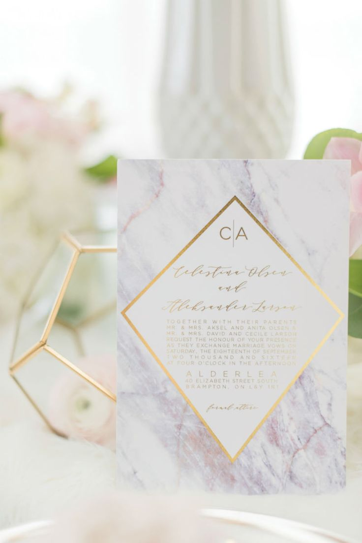Purple marble wedding invitations and stationery with gold geometric details…