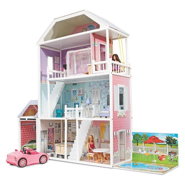 Finished Doll Houses with Furniture | ... 3m Large Brighton Wooden Dolls House + Free Furnitures/ Garage/ Pool