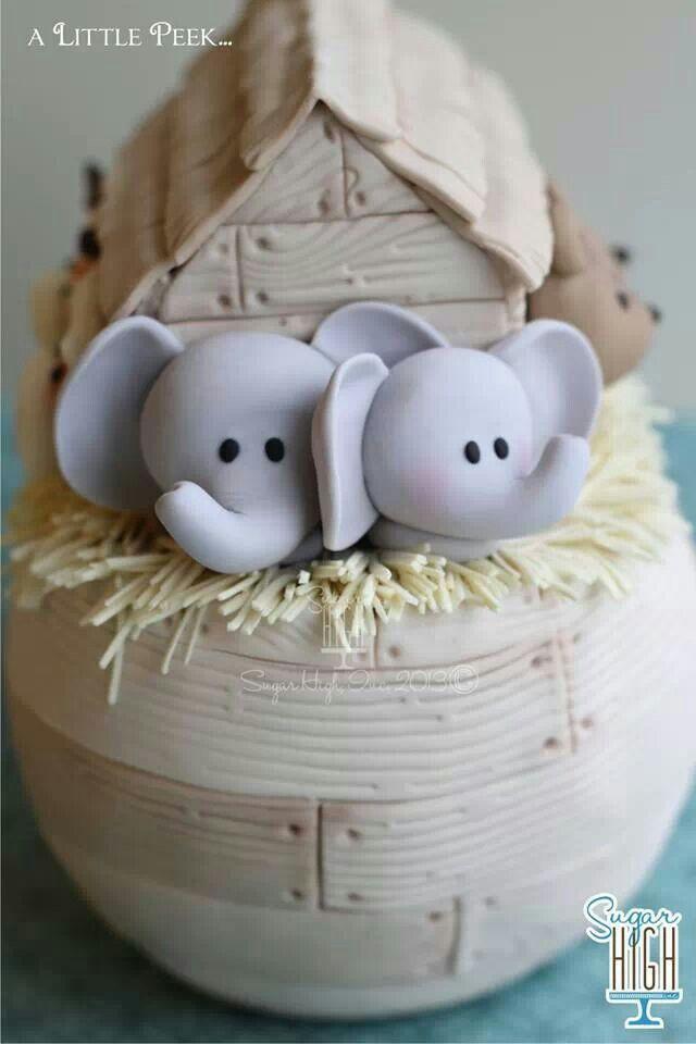 Elephans in Noah's Arc Cake Topper