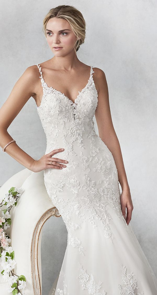 89911483fa3f Ella Rosa style BE467 / Beautiful Lace Mermaid gown / V-neckline / Lace  Spaghetti Straps/ Low open Back / Romantic Wedding Gown / #weddinggown  #weddingdress