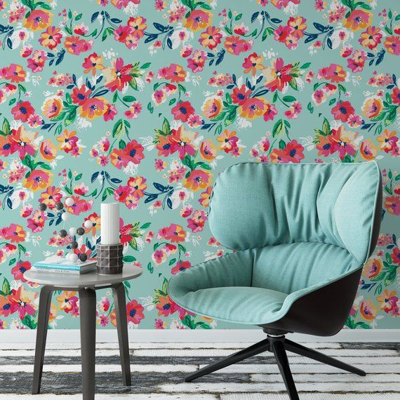 Pink And Blue Floral Removable Wallpaper Tropical Wallpaper Etsy Removable Wallpaper Retro Wallpaper Wallpaper Retro