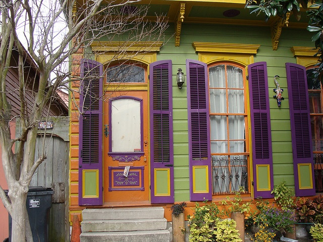 New Orleans color inspiration...sea green, purple, bittersweet. This is why I love my city.  The people are as colorful as the doors.