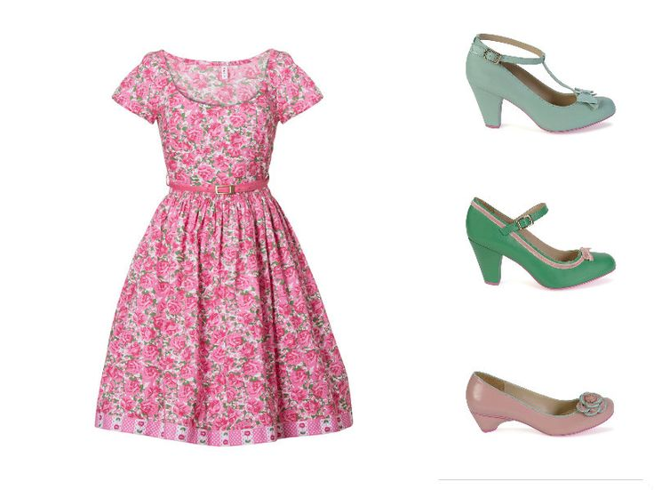 #Blutsgeschwister pink flower dress is perfect with the #Cristofoli #vintagestyle #shoes. From the top: acqua July with bow and dots, green July with pink ribbon and pink Pitty with rose.