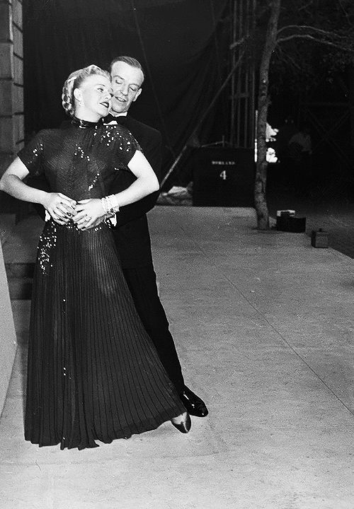 Fred Astaire & Ginger Rogers pose for photographs as they celebrate their reunion for the film The Barkleys of Broadway (1949), Hollywo...