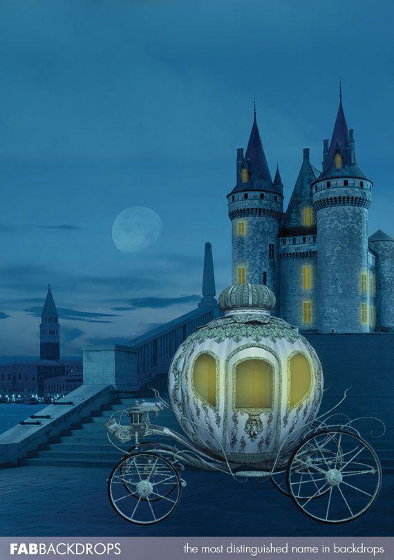 5x5 Cinderella Backdrop Castle & Pumpkin Carriage by FabDrops More