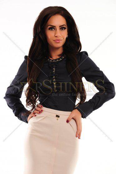 LaDonna Necklace Bows DarkBlue Shirt