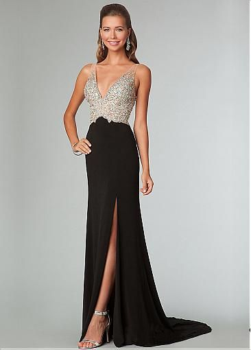 Fabulous Stretch Charmeuse V-neck Sheath Evening Dress With Train