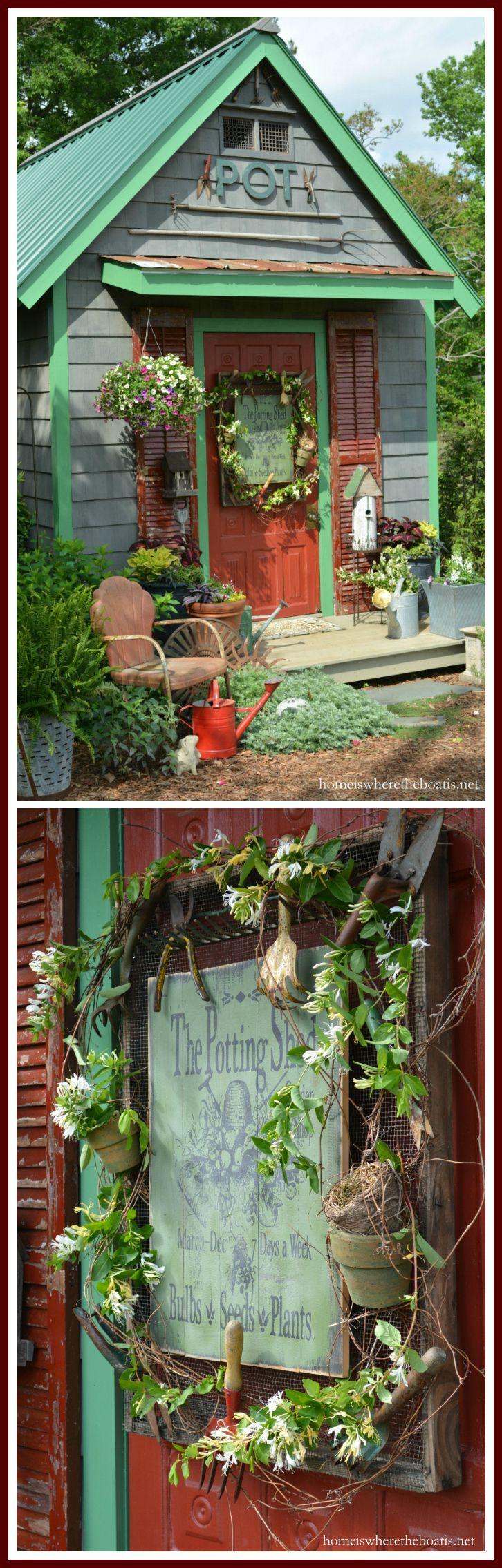 Potting Shed door sign! Hung on hardware cloth frame with vintage garden tools, pots, grapevine and honeysuckle! | homeiswheretheboatis.net #garden #spring