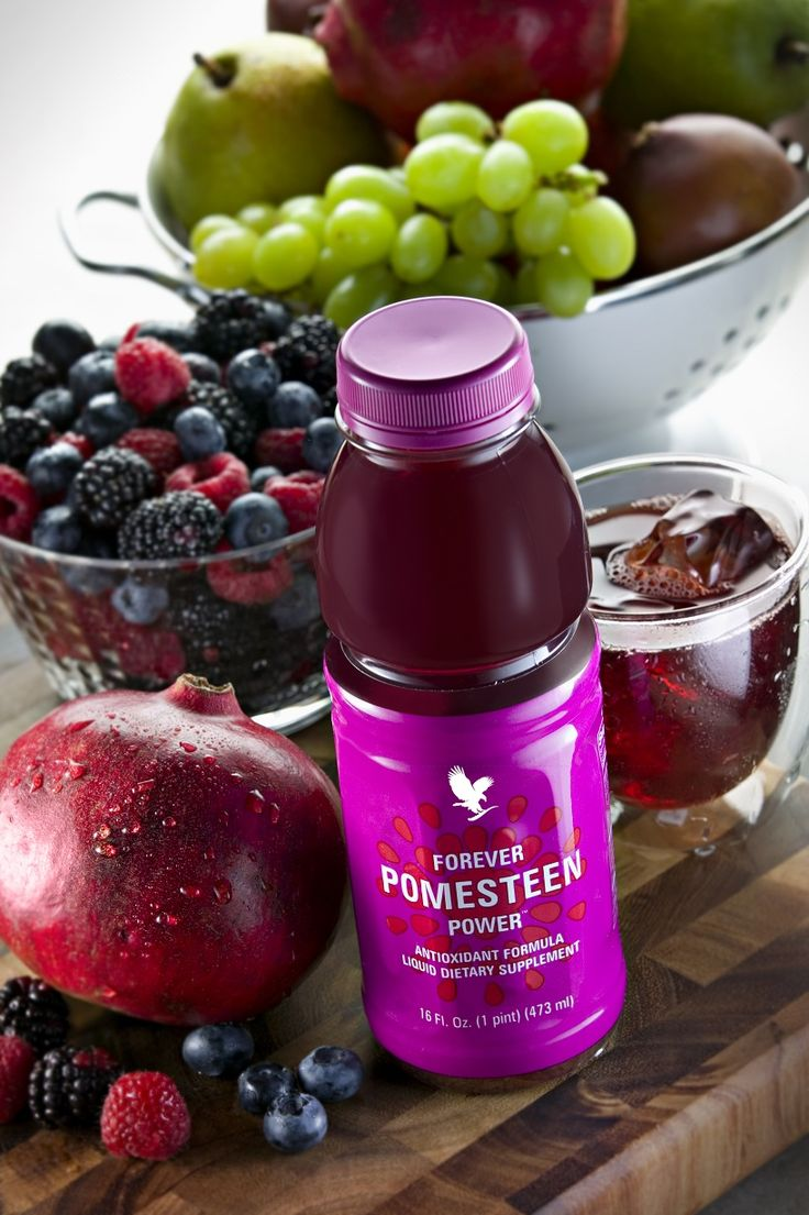 Forever Pomesteen Power's great tasting blend is a unique mix of fruit juices and extracts, including Pomegranate, Pear, Mangosteen, Raspberry, Blackberry, Blueberry and Grape Seed.