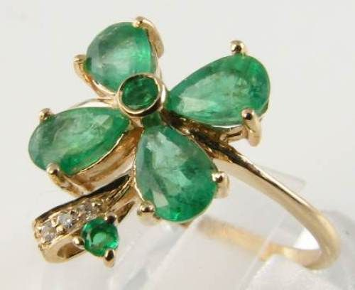 LOVELY 9CT 9K GOLD EMERALD & DIAMOND 4 FOUR LEAF CLOVER RING FREE RESIZE