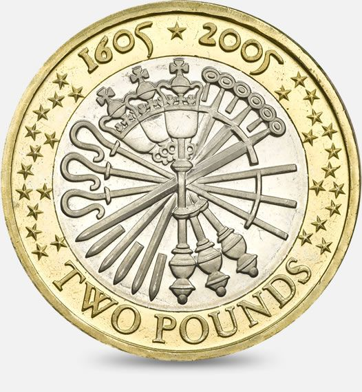 400th anniversary of the Gunpowder Plot - 2005 http://www.royalmint.com/discover/uk-coins/coin-design-and-specifications/two-pound-coin/2005-gunpowder-plot