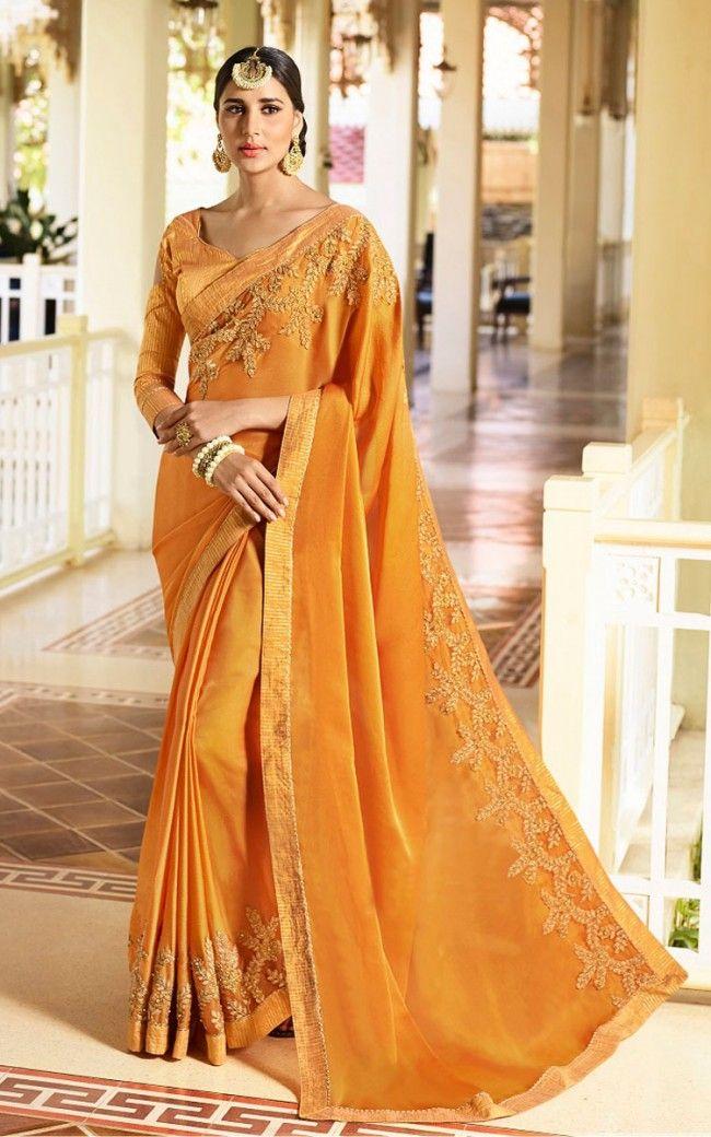 faac1c21a6f Buy Mustard Fancy Fabric Designer Saree Online