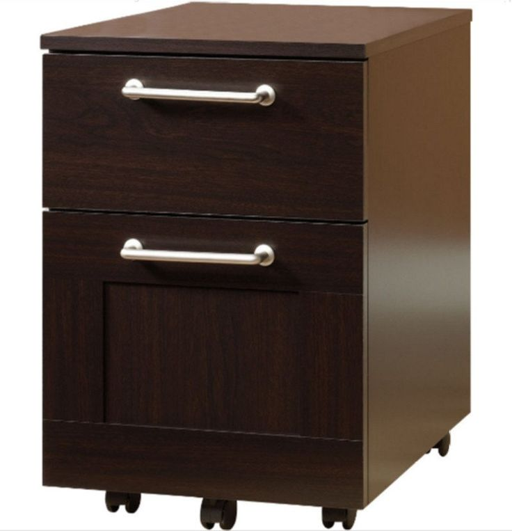 2 Drawer File Cabinet Contemporary Home Office Furniture Jamocha Wood Finish