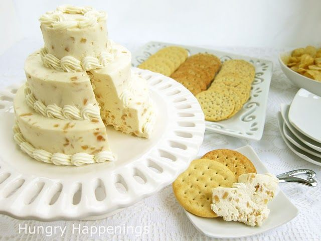 ARoasted Garlic Parmesan Cheese Ball is molded into a beautiful wedding cake for a bridal showerWedding Shower, Bridal Cake, Chees Ball, Roasted Garlic, Wedding Appetizers, Wedding Cakes, Bridal Shower, Hungry Happen, Cheese Ball