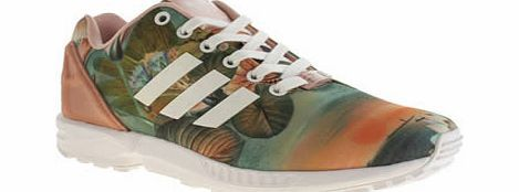 Adidas Multi Zx Flux Farm Print Trainers adidas and The Farm Company join forces again to bring us some tropical printed delights. The adidas ZX Flux Farm Print features a multi-coloured printed fabric upper, with pale pink accents via brand http://www.comparestoreprices.co.uk/womens-shoes/adidas-multi-zx-flux-farm-print-trainers.asp
