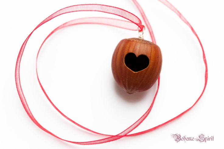 Hazelnut Pendant with carved heart, 925 Sterling Silver and red organza necklace for Valentine's Day - No. 1