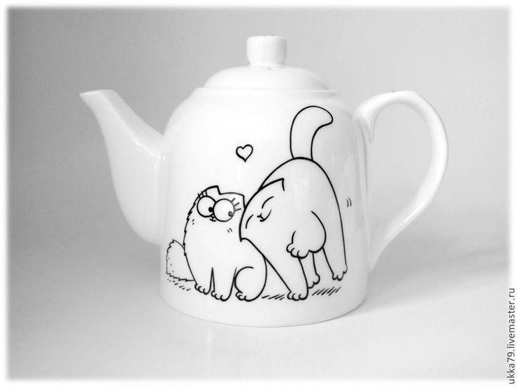 """Купить Чайник """"Кот Саймона"""" (посуда, фарфор) - чёрно-белый, фарфор, чайник, фарфоровый чайник"""