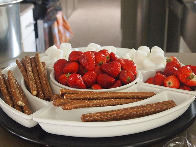 Pretzels, marshmallows and strawberries for the chocolate fountian