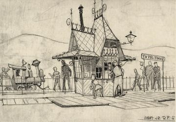 A Disney Artist's Designs for a Hanna Barbera Land - Imagineering Disney -- The whimsical Fantasyland ticket booth still standing at the Casey Jr. Circus Train entrance was a (Bruce) Bushman design.