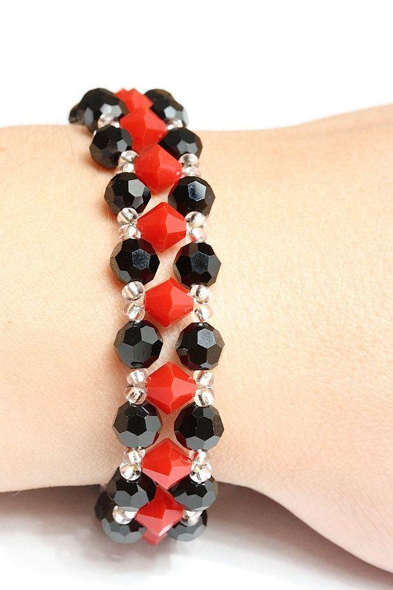 Red and black Swarovski crystal bracelet by AGoodBead on Etsy, $17.00
