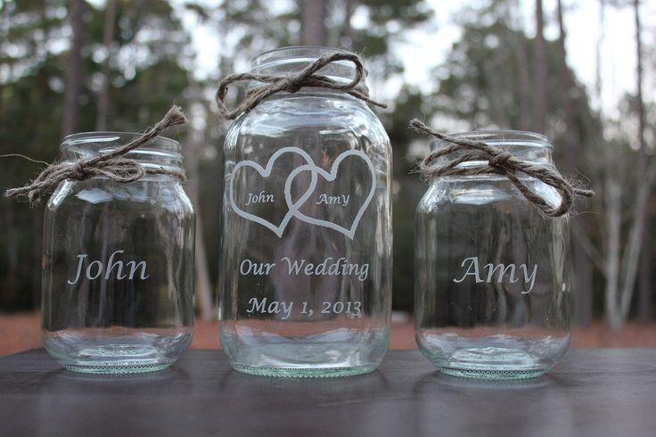 3 Piece Personalized Mason Jar Sand Ceremony set, Wedding Ceremony, Our Wedding, 2 pouring vases. $20.00, via Etsy.