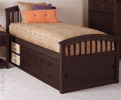 school house captains bed chocolate finish
