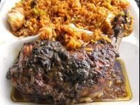 (Jamaican spicy grilled chicken)  Jerk is a method of cooking meats that comes from the original inhabitants of Jamaica, the Arawaks. They roasted meats over fires of pimento wood from the allspice tree. Pimento wood gave a distinctive flavor to the meat and is still used for jerk grilling in Jamaica.