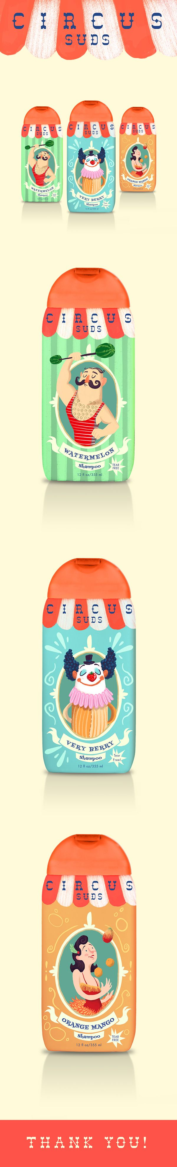 """Circus Suds"" is a children's soap brand concept which was used as an exercise…"