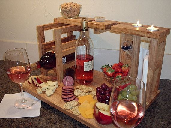Our wine and cheese party for 2, includes wine rack for 2 wine bottles, 2 glass holders, cheese cutting board, and napkin holder all made from upcycled solid pecan flooring remnants. This is a unique and original design by Habit Shmabit, handmade in Texas one at a time...this item is not