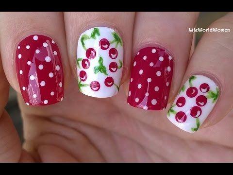 CHERRY NAIL ART Design - Dark Pink & White Summer Nails - YouTube