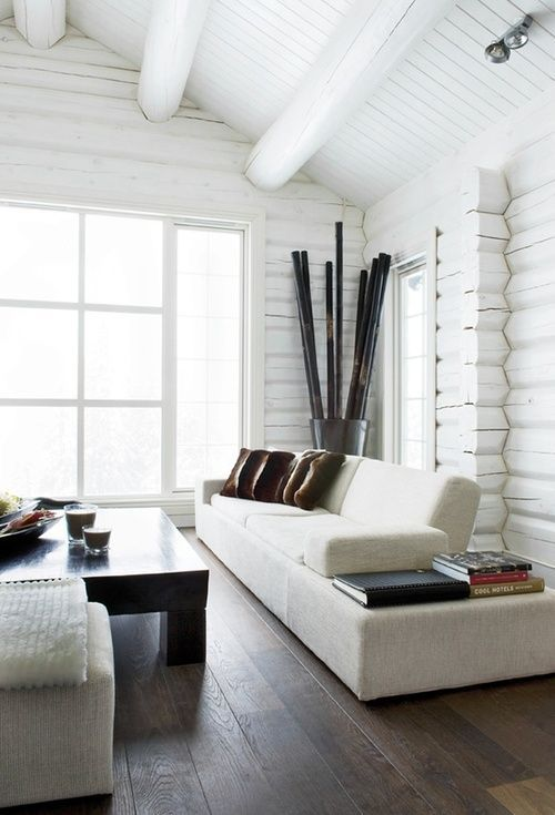 Very stylish, white on white, dark wood floor, exposed white washed wooden ceiling beams, make this a pretty understated classy space!