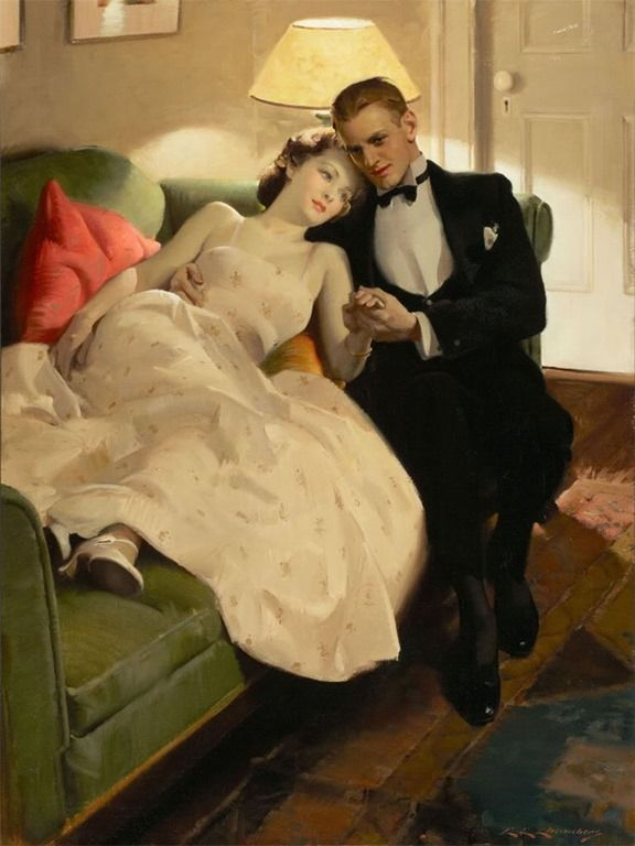 416 best romance vintage images on pinterest charles edward chambers american painter 1883 1941 romantic interlude s oil on canvas x 61 cm sciox Gallery