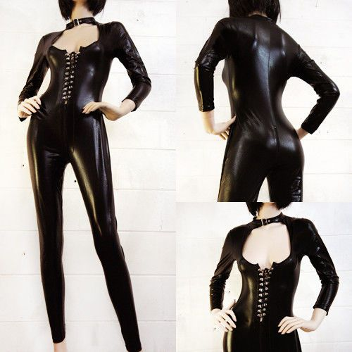 Punk Goth Wetlook Faux Leather Dominatrix Black Catsuit Sexy Teddy Plus Size USA | eBay