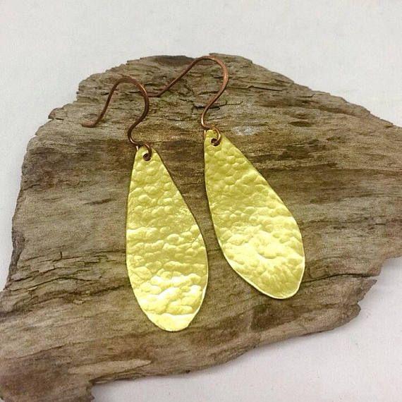 Brass hammered teardrop earrings for women Brass & copper