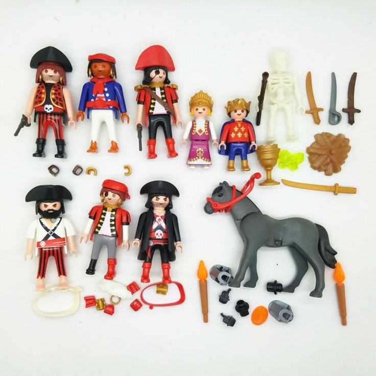10pcs Brand new Playmobil Geobra original model prince princess pirates gray horse workersAction figure with small parts
