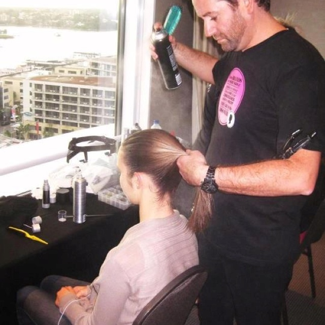 Scott perfecting his ponytails at the Fashion Palette launch 2012.