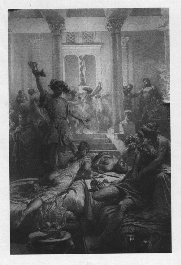 Illusztráció Madách Imre Az ember tragédiája című művéhez: Rómában (6. szín)  1887