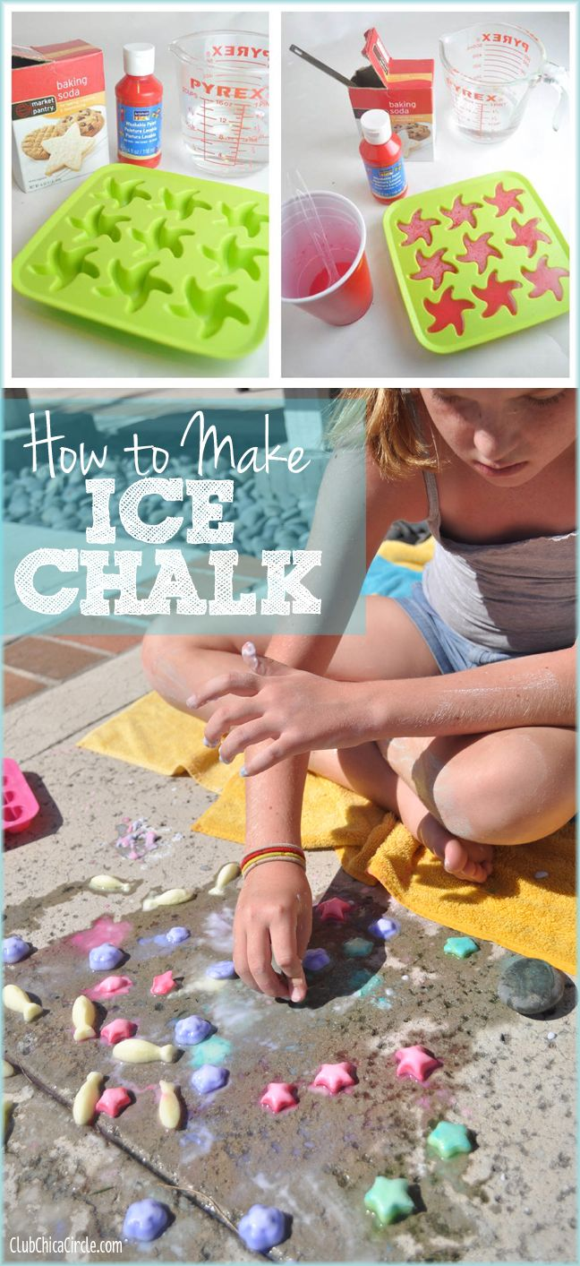 How to Make Ice Chalk... that sizzles! Easy to make with supplies you have on hand!   www.clubchicacircle.com  #kidscrafts  #SummerFun