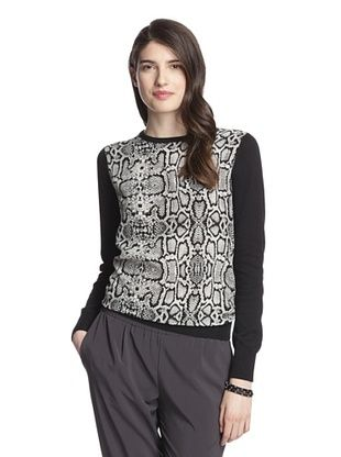 50% OFF Central Park West Women's Printed Body Sweater (Black Snake)
