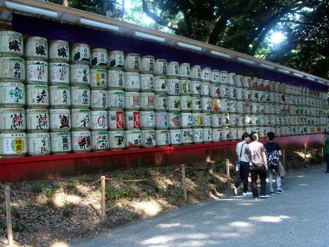 Tokio- japoński beczki sake- w ogrodach
