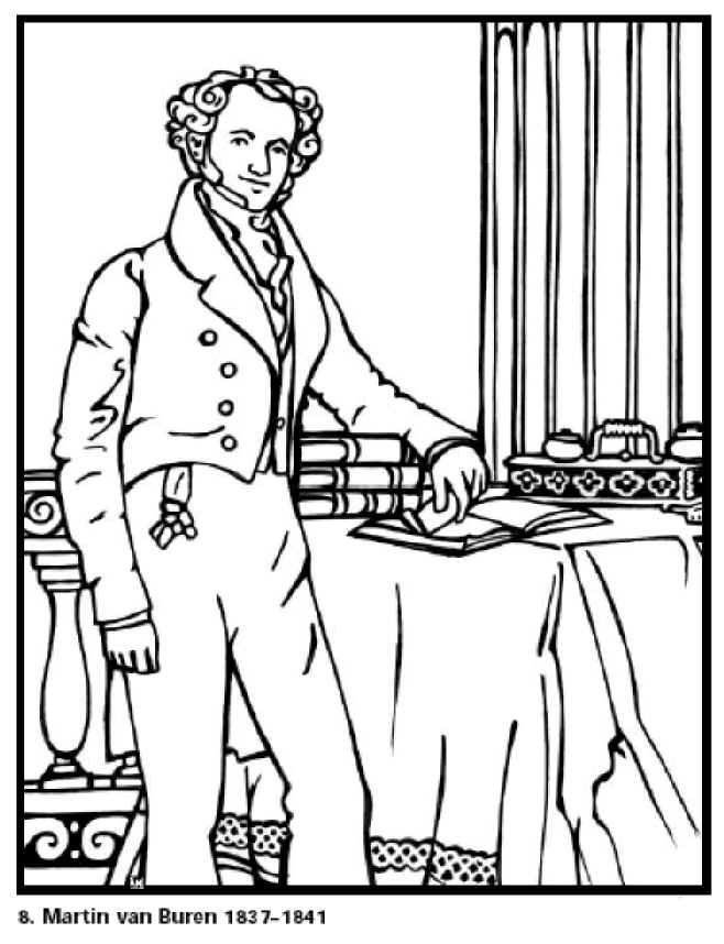 Marin Van Buren The 8th President Of United States Free Printable Coloring Sheet