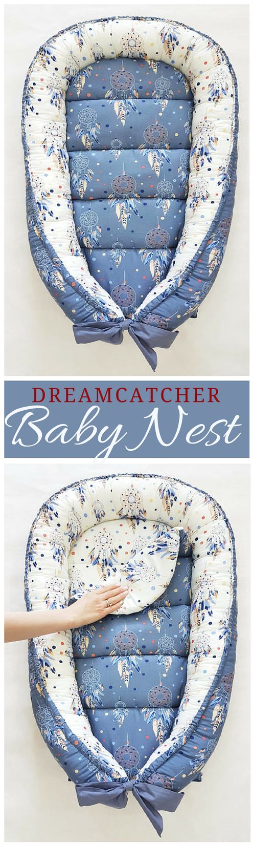 This must be the most precious baby nest I've ever seen. Love the dreamcatcher! Perfect gender neutral baby nest, great for either baby boy or baby girl.#ad #babynest #babyboho #dreamcatcher #bohobabynest #nursery #babylounger #newborngift