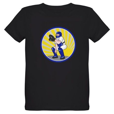 Baseball Catcher Catching Side Circle T-Shirt