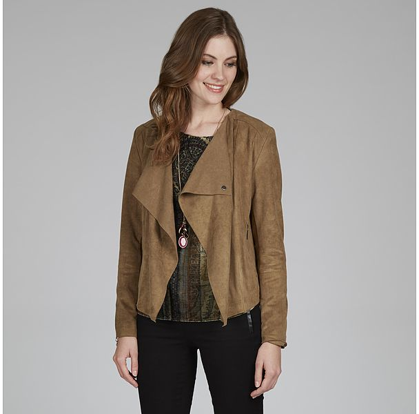 Womens khaki brown waterfall faux suede jacket from Laura Ashley - £80 at ClothingByColour.com