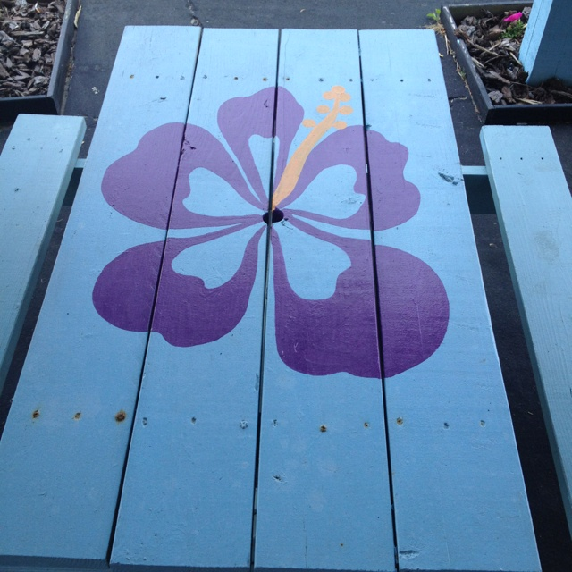 Floral painted picnic table