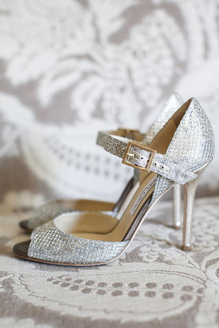 Silver Peep Toe Jimmy Choo Shoes | Photography: Tanya Salazar Photography | Beautiful wedding on Style Me Pretty: http://www.StyleMePretty.com/new-england-weddings/2014/03/12/tented-garden-wedding-in-westbrook-connecticut/