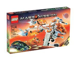 LEGO® Mars Mission MX-71 Recon Dropship by LEGO. $209.99. The Dropship has shooting function and moveable wings and cockpit - The small mining vehicle can be dropped off or picked up by Dropship. Storage chambers for loading captured aliens and crystals can be linked to other sets. Includes Recon Dropship mining vehicle, alien attack ship, 2 astronaut minifigures and 4 alien minifigures that glow-in-the dark. Contains 435 Pieces. Cruising across the Martian surface on...