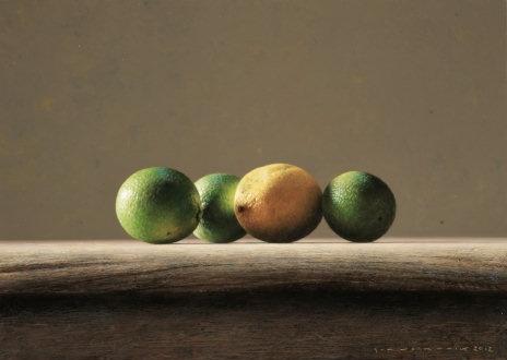 "Bernard Verkaaik ""Drie Limoenen en een Citroen"" 2012. Oil paint on panel. 25x35 cm"