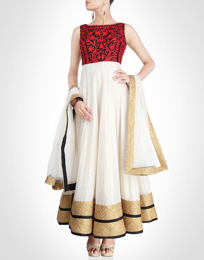 Seema Gujral collection | Anarkali. Reminds me of Onam